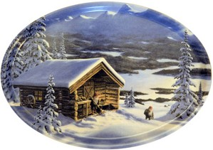 Jan Bergerlind - Jul Trays - Mountains and Log Cabin