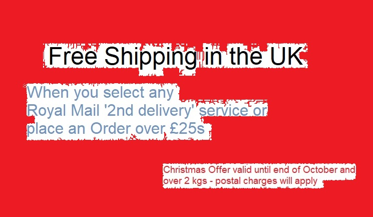 Free UK Shipping on all Royal Mail 2nd Deliverys until the end of October
