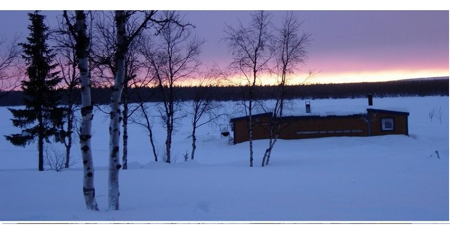 Sauna on lake, Lapland, Sweden