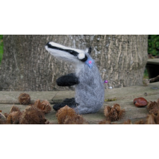 Needle Felted Badger Pin Cushion - Handmade by Honey Beeswax