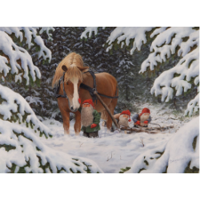 Jan Bergerlind Christmas Postcards - Tomte Sawing Logs - Honey Beeswax