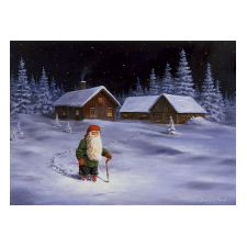 Jan Bergerlind Christmas Postcards - Tomte going for a Walk - Honey Beeswax