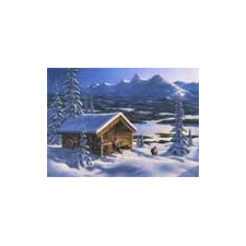 Jan Bergerlind Christmas Postcards - Mountains and Log Cabin - Honey Beeswax