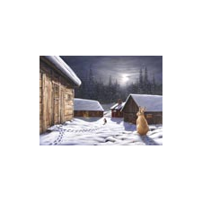 Jan Bergerlind Christmas Postcards - Hare and the Moon - Honey Beeswax