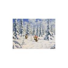 Jan Bergerlind Christmas Postcards - Tomte's Skiing - Honey Beeswax