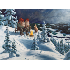 Jan Bergerlind Christmas Postcards - Two Tomte and Hare - Honey Beeswax