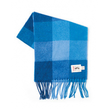 Blue Check - Lambswool Scarves