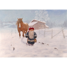 Jan Bergerlind Christmas Postcards - Snowstorm - Honey Beeswax