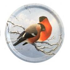 Jan Bergerlind Circular Beech Jul Tray - Pair of Bullfinches - Honey Beeswax