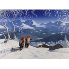 Jan Bergerlind Jul Cards - Tomte and frozen trees - Honey Beeswax
