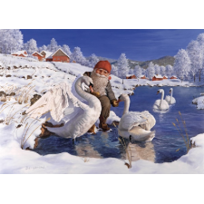 Jan Bergerlind Christmas Postcards - Tomte and swans - Honey Beeswax