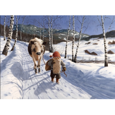Jan Bergerlind Christmas Postcards - Tomte and the red and white cow - Honey Beeswax