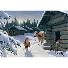 Jan Bergerlind Christmas Postcards - Tomte and the snow cow - Honey Beeswax