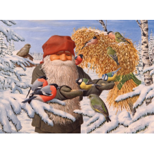 Jan Bergerlind Christmas Postcards - Tomte feeding the birds - Honey Beeswax