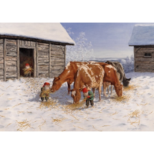 Jan Bergerlind Christmas Postcards - Tomte feeding the red and white cows - Honey Beeswax