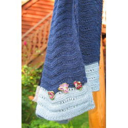 Wavy Navy and Light Blue - Cotten Knitted Scarves