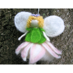 Needle Felted Flower Angel - Handmade by Honey Beeswax