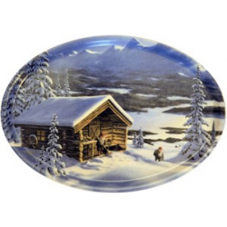 Jan Bergerlind - Jul Tray - Mountains and Log Cabin - Honey Beeswax