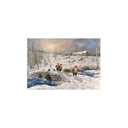 Jan Bergerlind - Christmas Postcard - Bringing Home the Christmas Tree - Honey Beeswax