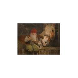 Jan Bergerlind Christmas Postcards - Tomte and Porridge - Honey Beeswax