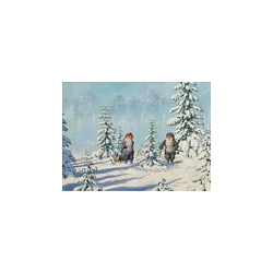 Jan Bergerlind Christmas Postcards - Tomte's and the Christmas Tree - Honey Beeswax