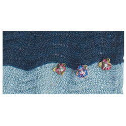 Wavy Navy and Light Blue - Cotton Knitted Scarves