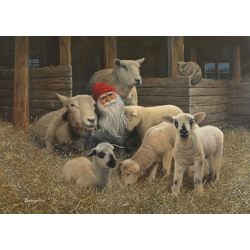 Tomte and his Flock in the Barn