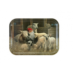 Jan Bergerlind Jul Tray - Tomte and his Sheep - Honey Beeswax